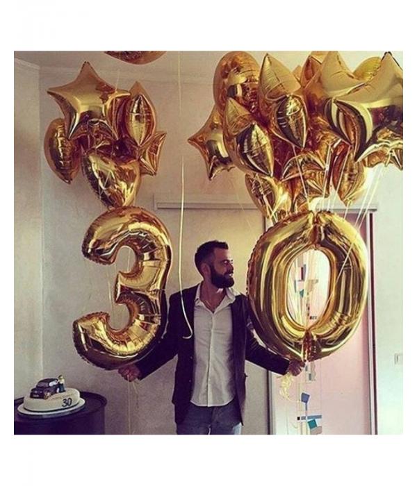 Золотые воздушные шары на день рождения